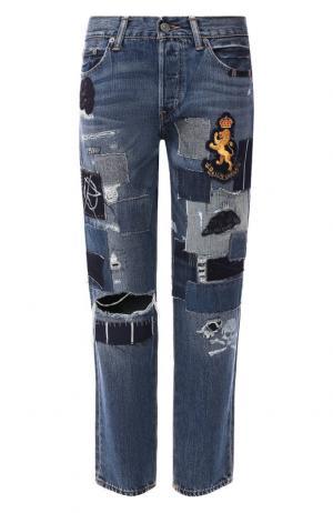 Укороченные джинсы с потертостями Polo Ralph Lauren. Цвет: синий