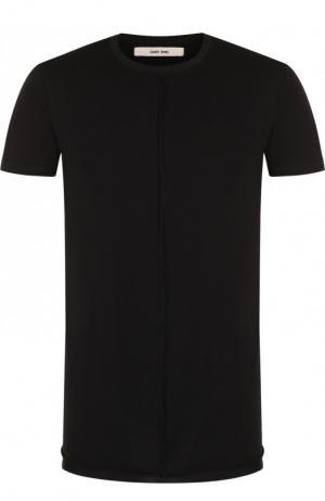 Однотонная хлопковая футболка с круглым вырезом Damir Doma. Цвет: черный