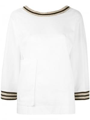 Блузка с вышивкой Ballantyne. Цвет: белый