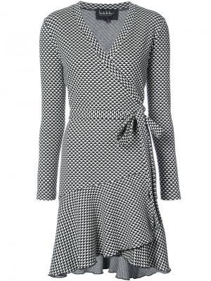Платье с запахом и геометрическим принтом Nicole Miller. Цвет: чёрный