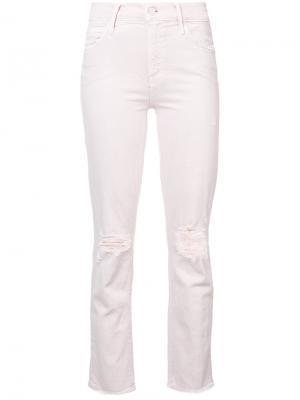 Рваные облегающие джинсы Mother. Цвет: розовый и фиолетовый