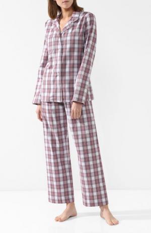 Хлопковая пижама в клетку Derek Rose. Цвет: бордовый