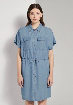 Платье джинсовое Tom Tailor Denim. Цвет: синий