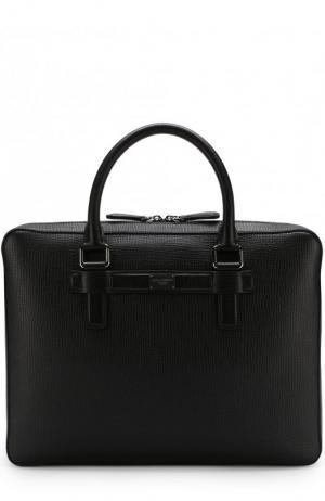 Кожаная сумка Ufficio для ноутбука Dolce & Gabbana. Цвет: черный