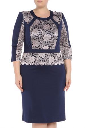 Платье CREDO. Цвет: темно-синий