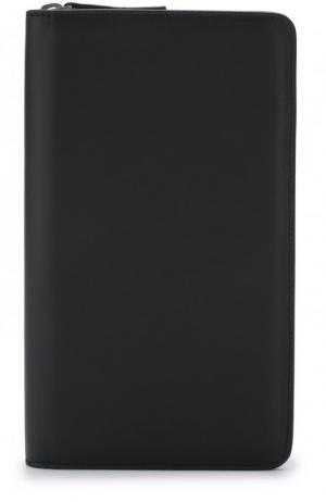 Кожаный футляр для документов на молнии Brioni. Цвет: темно-синий