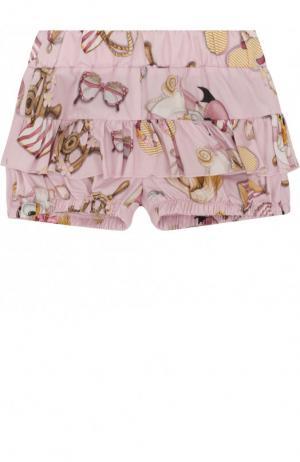 Хлопковые шорты с оборками Monnalisa. Цвет: розовый