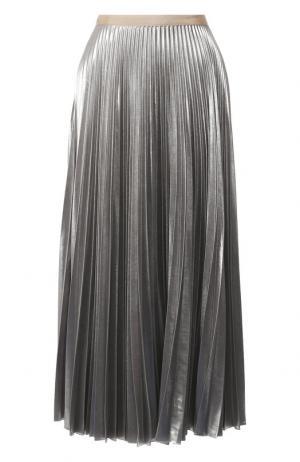 Плиссированная юбка-миди Dries Van Noten. Цвет: серебряный
