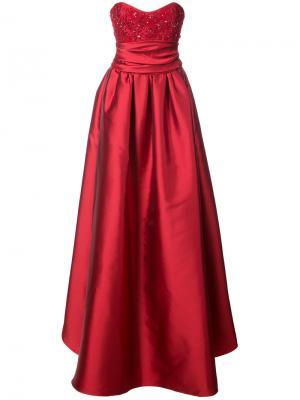 Вечернее платье с расшитым бисером бюстье Marchesa Notte. Цвет: красный