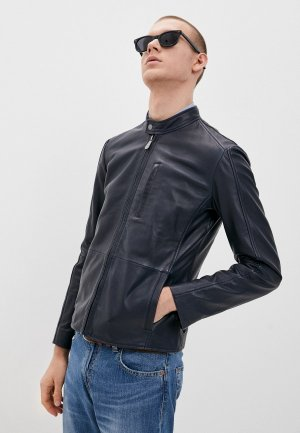 Куртка кожаная Trussardi. Цвет: синий