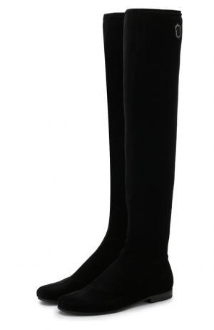 Бархатные ботфорты на низком каблуке Monnalisa. Цвет: черный