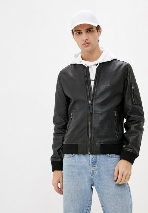 Куртка кожаная Superdry. Цвет: черный