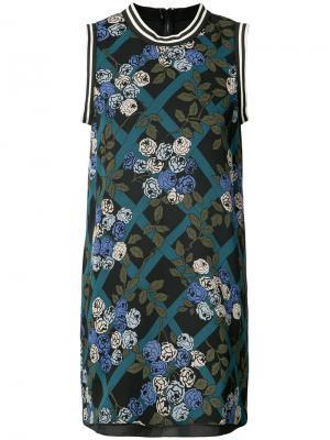 Платье с принтом роз Anna Sui. Цвет: чёрный
