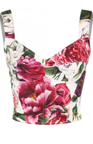 Топ-бюстье с цветочным принтом на молнии Dolce & Gabbana. Цвет: разноцветный