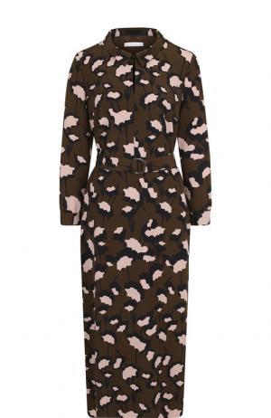 Платье-миди с поясом и принтом Basix Black Label. Цвет: хаки