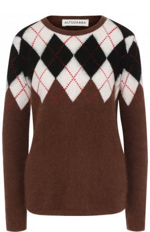 Шерстяной пуловер с круглым вырезом Altuzarra. Цвет: коричневый