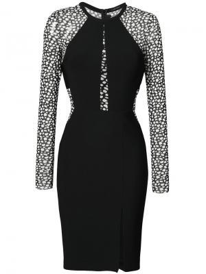 Приталенное платье с леопардовым принтом Yigal Azrouel. Цвет: чёрный