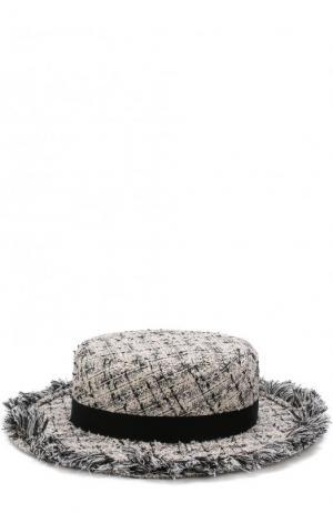 Шляпа из твида с лентой Eugenia Kim. Цвет: кремовый