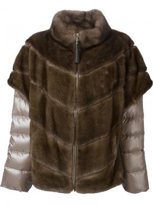 Куртка-пуховик с норковым мехом Liska. Цвет: коричневый