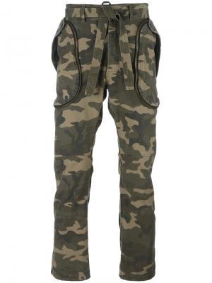 Камуфляжные брюки Faith Connexion. Цвет: зелёный