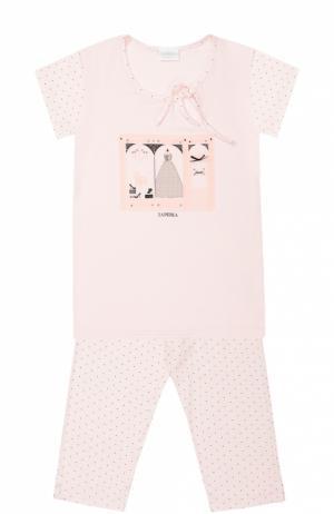Пижама из модала с принтом La Perla. Цвет: розовый