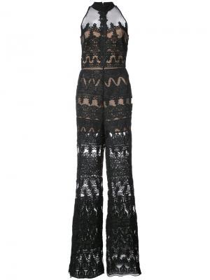 Полупрозрачный комбинезон с вышивками Nicole Miller. Цвет: чёрный