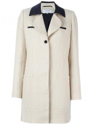 Пальто с контрастным воротником Carven. Цвет: телесный
