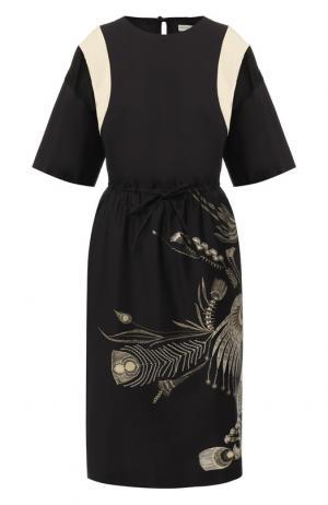 Хлопковое платье с принтом Dries Van Noten. Цвет: черный