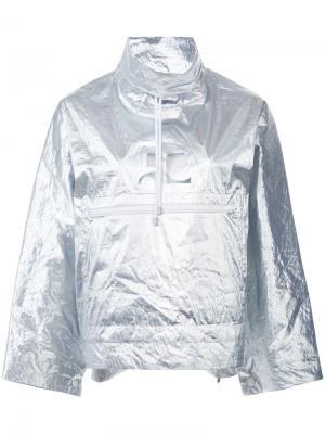 Металлизированная куртка-дождевик Courrèges. Цвет: металлический