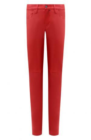 Кожаные брюки прямого кроя Current/Elliott. Цвет: красный