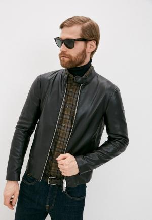 Куртка кожаная Armani Exchange. Цвет: черный