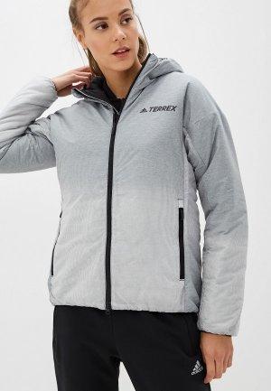 Куртка утепленная adidas. Цвет: серый