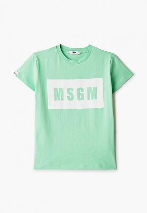 Футболка MSGM Kids. Цвет: зеленый