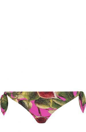 Плавки-бикини с принтом Dolce & Gabbana. Цвет: фуксия