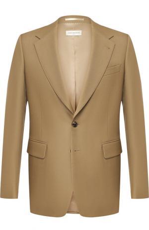 Однобортный пиджак из шерсти Dries Van Noten. Цвет: бежевый
