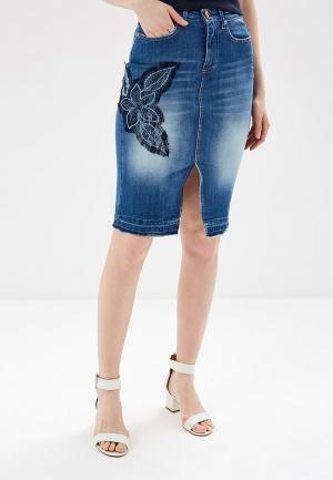 Юбка джинсовая Rinascimento. Цвет: синий