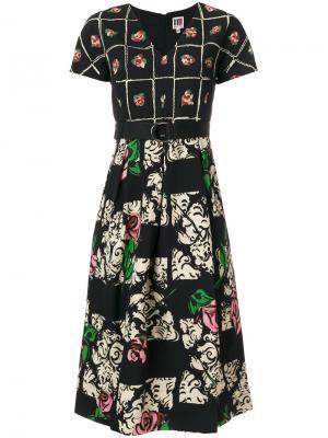 Платье с цветочным принтом IM Isola Marras I'M. Цвет: чёрный