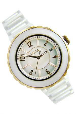 Керамические часы с футляром BORA. Цвет: белый