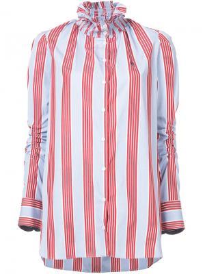 Блузка в полоску с высокой горловиной Carven. Цвет: синий