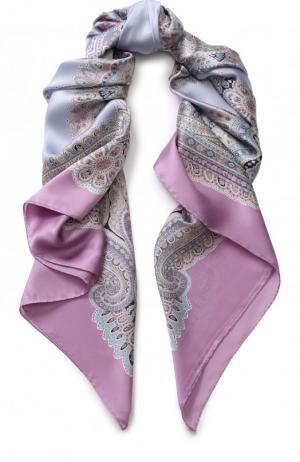 Шелковый платок с принтом Michele Binda. Цвет: фиолетовый