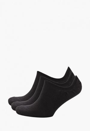 Носки 3 пары Reebok. Цвет: черный