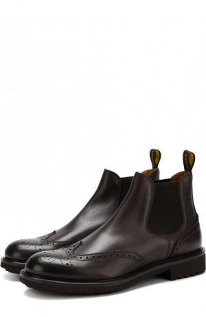 Кожаные челси с брогированием Doucals Doucal's. Цвет: темно-коричневый