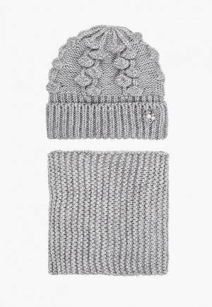 Шапка и шарф TrendyAngel. Цвет: серый