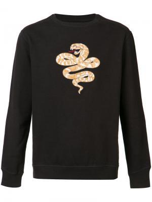 Толстовка с вышивкой в виде змеи Maharishi. Цвет: чёрный