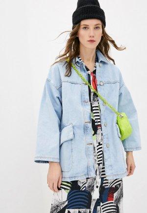 Куртка джинсовая Bimba Y Lola. Цвет: голубой