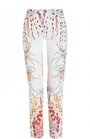 Укороченные джинсы прямого кроя с принтом Roberto Cavalli. Цвет: разноцветный