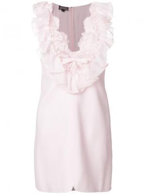 Платье с кружевной отделкой и V-образным вырезом Giambattista Valli. Цвет: розовый и фиолетовый