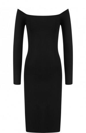 Однотонное мини-платье с открытыми плечами Elizabeth and James. Цвет: черный