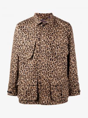Леопардовая куртка на молнии Uniform Experiment. Цвет: коричневый