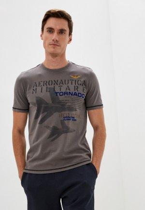 Футболка Aeronautica Militare. Цвет: серый